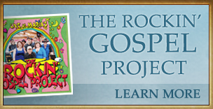 The Rockin Gospel Project album cover. Picture of band members posing framed by a rainbow and titles